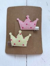 Pink & Yellow Sparkly Princess Hair Clips Stocking Filler Present Xmas Gift