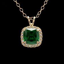 1.5CT Cushion Green Emerald Halo Created Diamond Pendant Solid 14k Yellow Gold