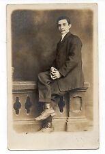 Vintage Photo Postcard Handsome Teen Boy Young Man Portrait