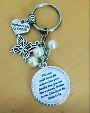 Wedding MOTHER OF THE GROOM verse2 Keyring Keepsake Favour Gift ANY COLOUR BEADS