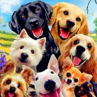 Round Drill 5D Diamond Painting Art Craft Dogs Kits Art Embroidery Decor Gifts