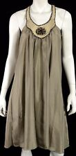 HENRY BEGUELIN Taupe Parachute Silk & Snakeskin Trim Shift Dress M