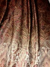 """1 JC Penny Curtain Panel Rich Red/Loden Green Paisley  52"""" X 86""""  MINT 2 Avail"""
