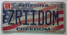 Arizona 2010 FREEDOM FLAG GRAPHIC CAMARO Z/28 VANITY License Plate Z RIDE'EM