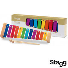 Stagg Metallophone 12 Keys Color-Coded (A to E) Rainbow Keys with Wooden Mallets