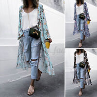 ZANZEA 8-24 Women Floral Cover Up Long Coat Jacket Outerwear Kimono Beach Cardi