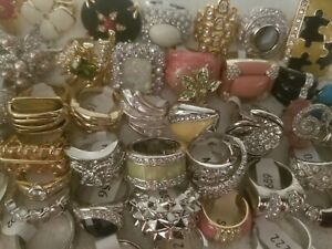 Jewelry Ring lot 50 PIECES Rhinestone Crystal Accent lot #B NO RESERVE AUCTION!!