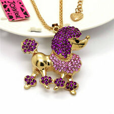 Rhinestone Crystal Pendant Women Necklace Betsey Johnson Rose Poodle Cute