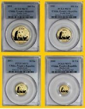 2011 CHINA pure GOLD PANDA 4 COINS-SET PCGS MS 70 RARE