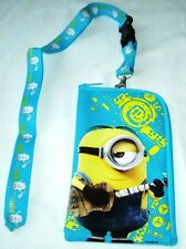 Light Blue Despicable Minions Lanyard ID Zipper Wallet Fast Pass Pouch Holder