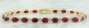 12.00 Carat Natural Ruby and Diamond 14K Yellow Gold Luxury Tennis Bracelet