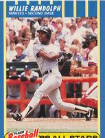 Willie Randolph 1988 Fleer Baseball All Stars #32 New York Yankees card