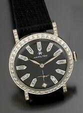 Hamilton 14K White Gold Black Dial Diamond Bezel Dress Watch CA1960s 22 Jewel