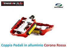 0083 - Coppia Pedali XERAMA Alluminio Corona Rosso per Bici 26-28 Corsa Strada