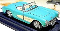 Bburago 1957 Chevy Corvette Convertible Light Blue w White 1:24 Scale Diecast