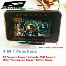 Car LCD 4in1Gauge(Water Temperature/Oil Pressure/Fuel/voltage Gauges) 1/8 NPT #