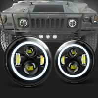 2x 7'' Halo LED Headlights For Hummer M998 M923 M35a2 24v Humvee Military Truck