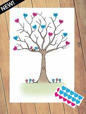 Bébé douche prédiction arbre - 30 x amour coeur autocollants - A4 Boy/Girl Party Game