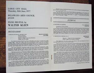 WALTER KLIEN piano recital programme (1977) SCHUBERT,MOZART,BEETHOVEN