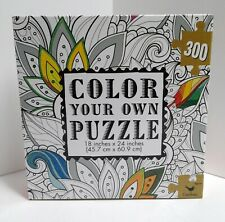 "Color Your Own Puzzle 18"" x 24"" 300 Piece New NIB Floral Leaves"