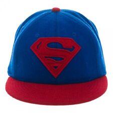 DC COMICS SUPERMAN SHIELD LOGO WOOL FLAT BILL STRAPBACK HAT CAP ADJUSTABLE BLUE