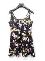 Torrid Size 0 L Black Pink Purple Floral Scuba Skater Dress Sleeveless Knee Lg