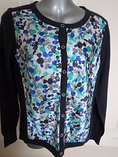PER UNA 12 B.N.W.T NAVY BLUE LONG SLEEVE CARDIGAN POLYESTER COLOURED FRONT