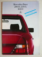 Prospekt Mercedes W 124: 200 D, 250 D, 300 D  schadstoffarm, 11.1985, 30 Seiten