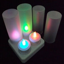 4pcs/Set Led Tea Lights Candles Plastic Rechargeable Tealight Flickering Decors