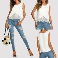 Women's Chiffon Lace Vest Top Sleeveless Casual Tank Blouse Summer Tops T-Shirt