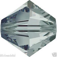 SWAROVSKI 5328 XILION Bicone Beads 4mm: Black Diamond (50 Perline)