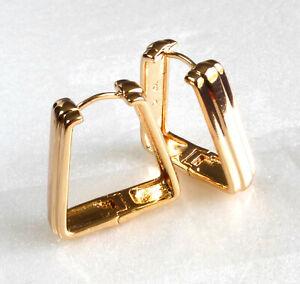 Creole Big Huggie Hoop Triangle Earrings 18K Gold Plated 23mm x6mm Medium size