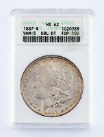1887 $1 Silver Morgan Dollar Graded by ANACS as MS-62 VAM-5