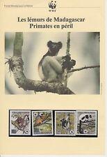 ENCART WWF LES LEMURS DE MADAGASCAR PRIMATE EN PERIL TIMBRE NEUF **
