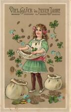 1911 GERMAN HAPPY NEW YEAR GIRL CHILD GOLD COINS 4 LEAF CLOVER on APRON POSTCARD