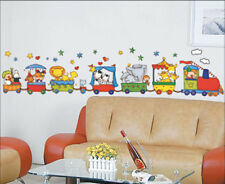Train Cartoon Circus animals Childrens Wall Stickers  Nursery Play room H1222