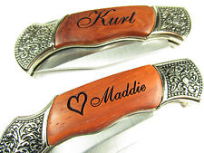 Personalized Engraved Heart Rosewood Pocket Knife Valentine's Day Wedding Gift