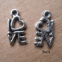 P033 100pcs Tibetan Silver Charms love heart retro Accessorie Wholesale