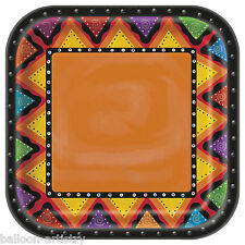 "8 Wild West Mexican Fiesta Festivity Party Large 9"" Square Paper Plates"