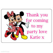 8 x XLarge Minnie & Mickey Mouse Personalised Thank You Birthday Stickers -N214