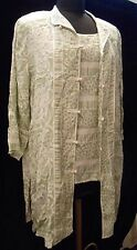 Bob Mackie Wearable Art 2 pc Top Set L Silk Shell Cardigan Womens Sage Print