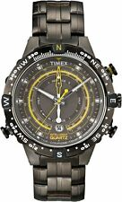 Timex Intelligent Quartz Gunmetal Stainless Tide Temp Compass Watch T2P139