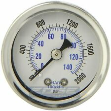 "LIQUID FILLED PRESSURE GAUGE 0-2000 PSI, 1.5"" FACE, 1/8"" NPT BACK MOUNT"