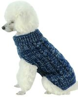 Classic True Blue Heavy Cable Knitted Ribbed Fashion Pet Dog Sweater clothes