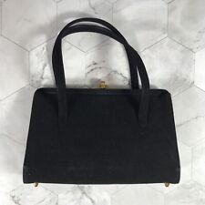 VTG Black Suede Mayer New York Handbag Purse Small Bag Deadstock W/ Mirror