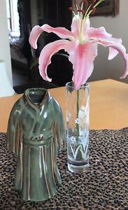 """Asian Kimono Home Decor Vase Collectible Pottery 8"""" Green Brown"""