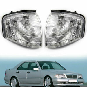 Clear Corner Light Parking Turn Signal Lamp PAIR For Mercedes Benz C-Class W202