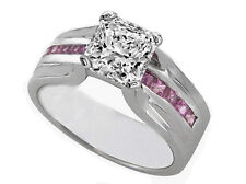 1.66 tcw Radiant Diamond & Pink Sapphire Bridge Engagement Ring by MDC New York