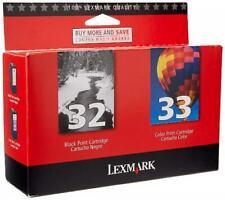 NEW Lexmark 32 & 33 Ink Cartridge Combo GENUINE Sealed Box