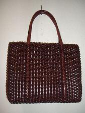 NINE WEST Classic Vintage Basketweave Brown Mini Handbag